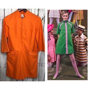 Vintage Mod Orange Zipper Dress